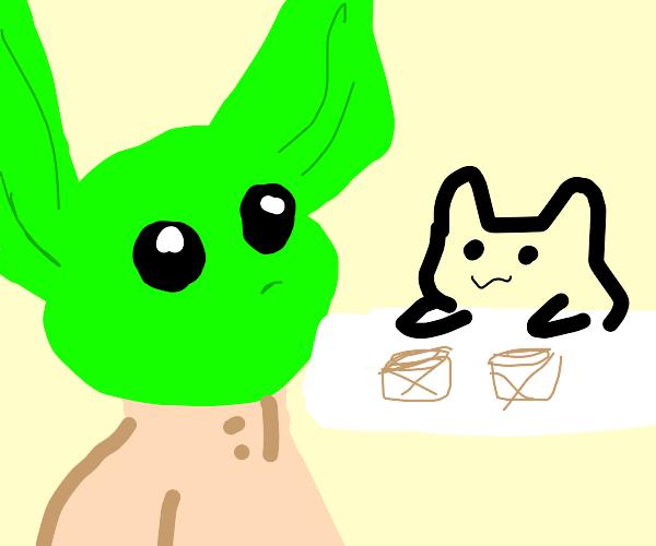 baby yoda meets bongo cat