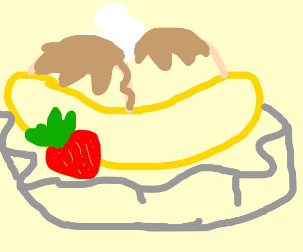 Strawberry and chocolate banana split