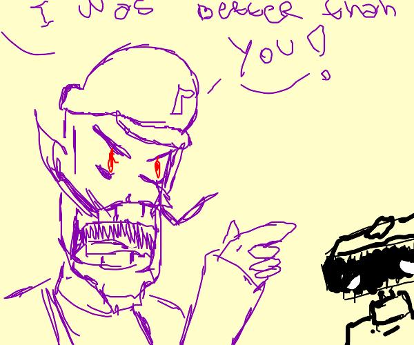 Waluigi bullying someone