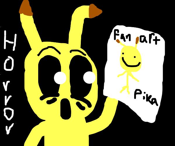 Pikachu looks at his fan art in horror