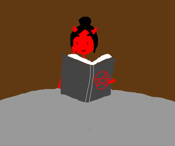 Demon Girl learning Demon stuff in Demon book