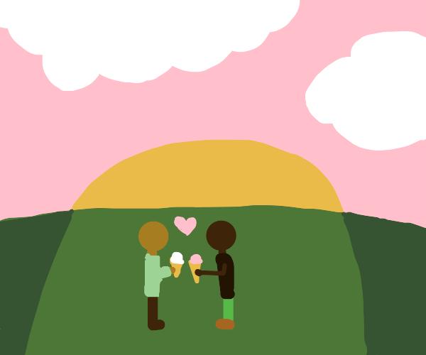 Gay Interracial love? With icecream