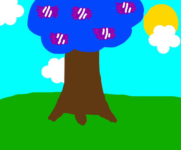 a blue tree that grows candy