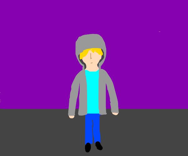 guy wearing a hood and cyan t shirt