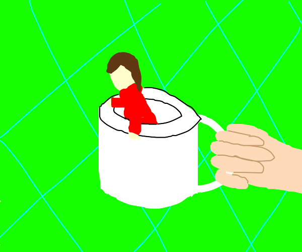 Huge arm for holding up a woman in a mug