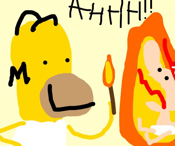 homer simpson burning a random baby