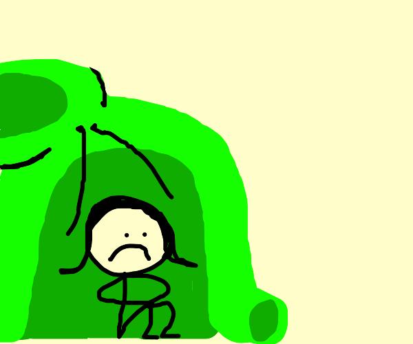 Girl hiding herself inside hoodie