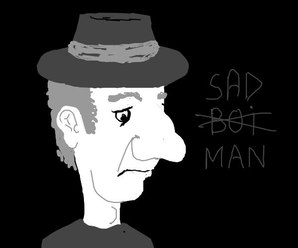 Man with big nose is sad
