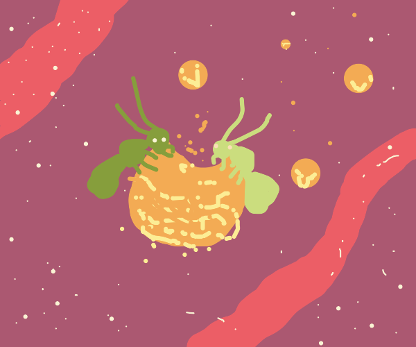 Space ants eating cheese puff asteroid