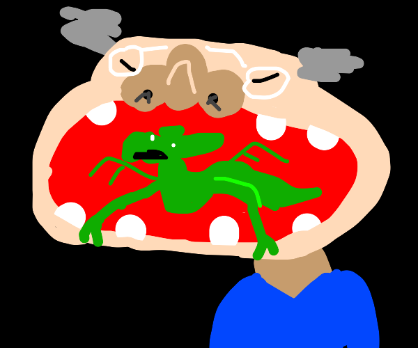 old man eats dragon in entire mouth