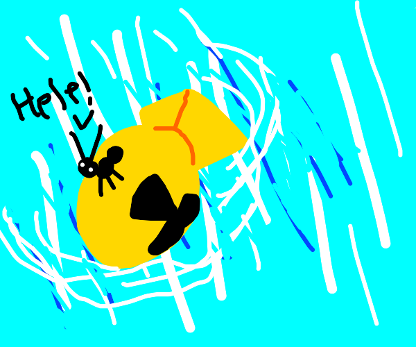 Ant riding a nuke saying help