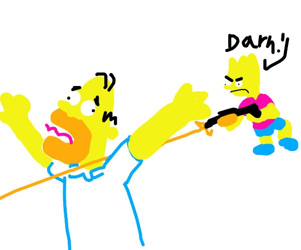 Bart Simpson failing to assassinate Homer