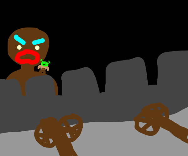 Gingerbread Man from Shrek fights a castle