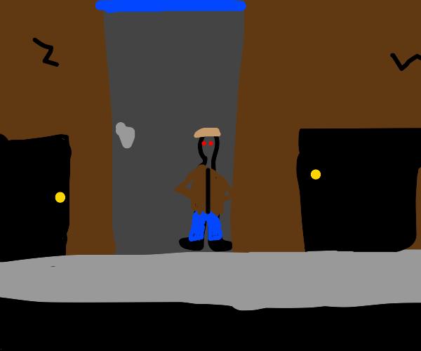 Shady man in alley
