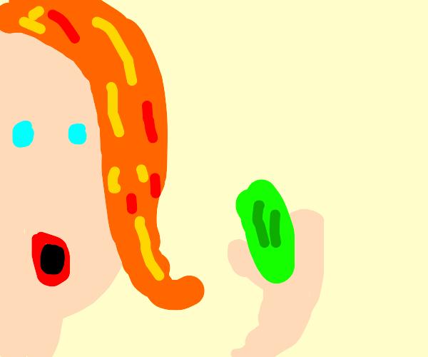Ginger eats a pickle (& is pickled ginger?)
