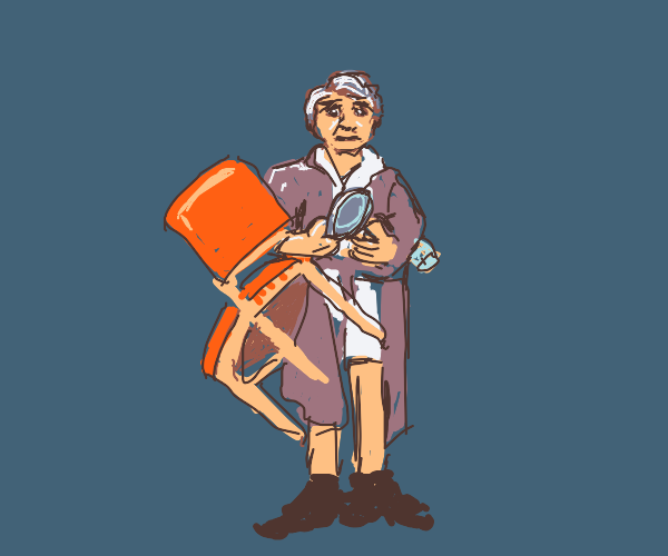 old man holding chair