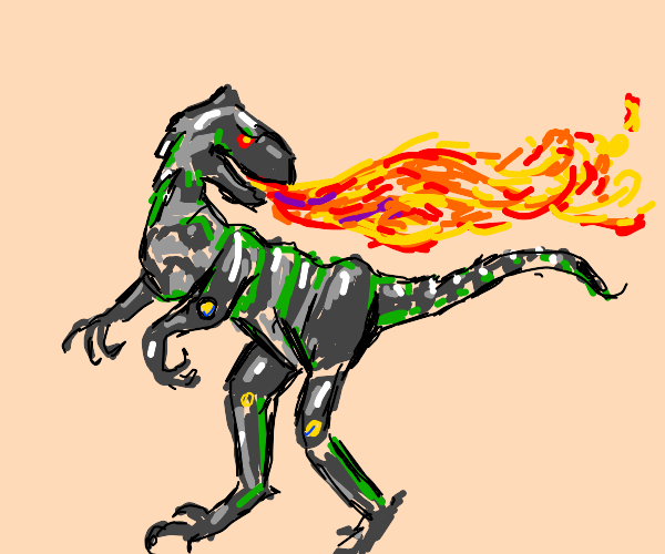 t-rex robot hybrid breathing fire