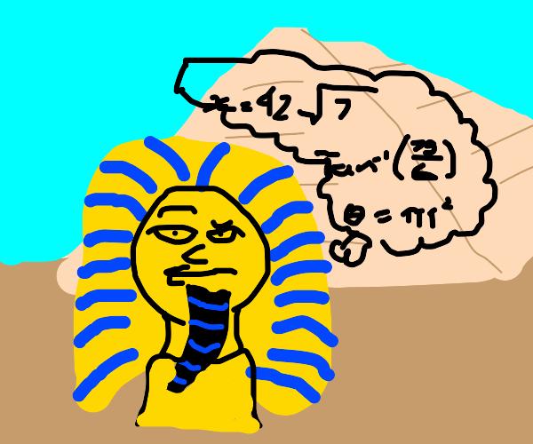 Egyptian Pharaoh doing math