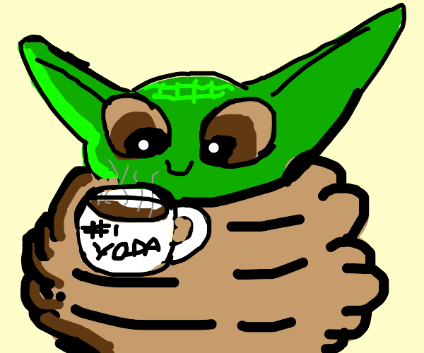 baby yoda drinks coffee