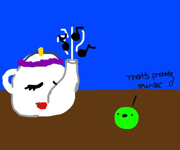teapot plays music that pea appreciates