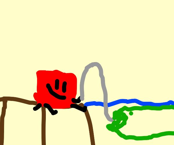 happy blocky (bfdi) is fishing