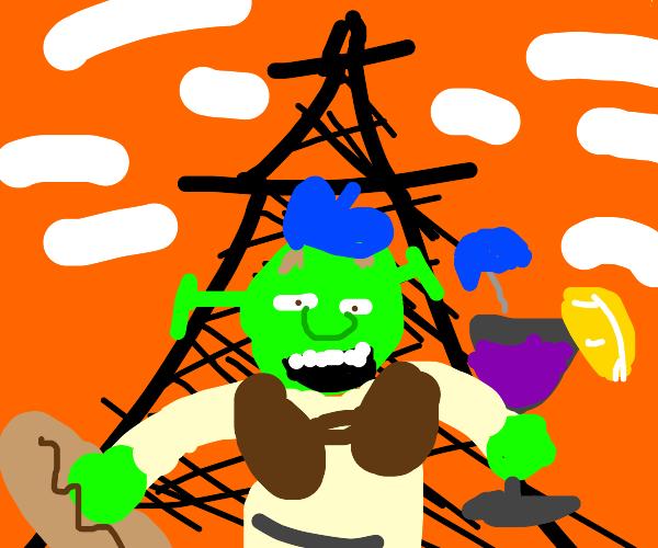Shrek in baguette-wine-surrender-land