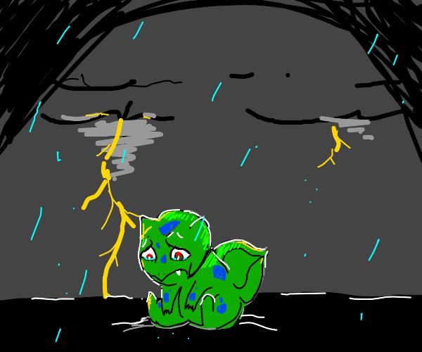 sad bulbasaur in thunder storm