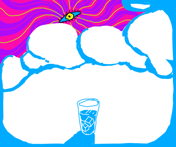 Psychodelic eye in a cloud above a ice glass