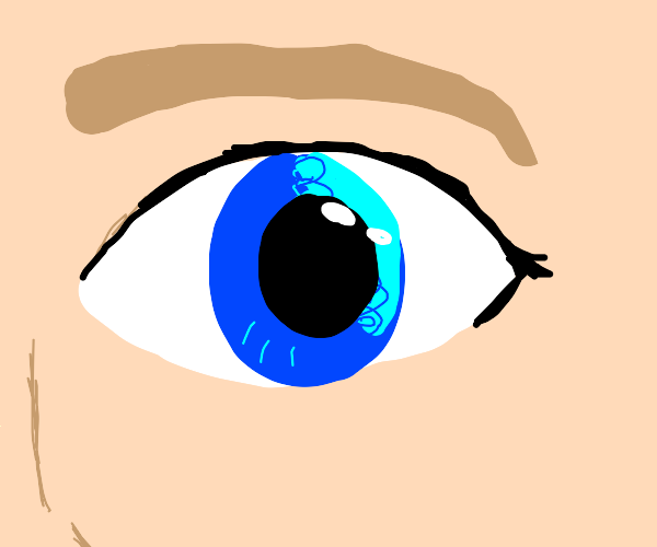 close up of blue eyed woman's face
