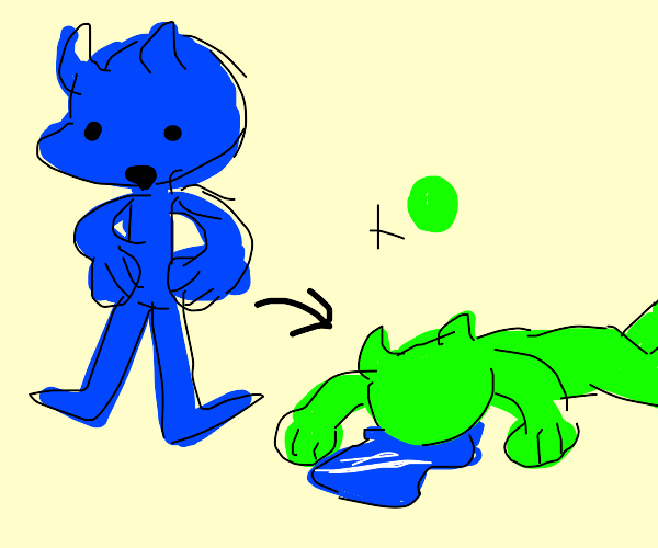 he is blue if he was green he would die