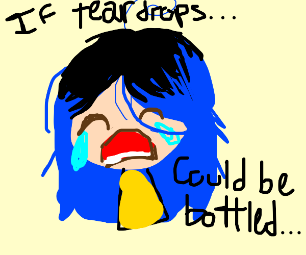 depressed blue haired girl