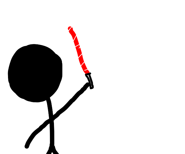 black man with red stick