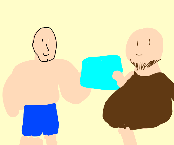 buff man holding a map with a neck beard