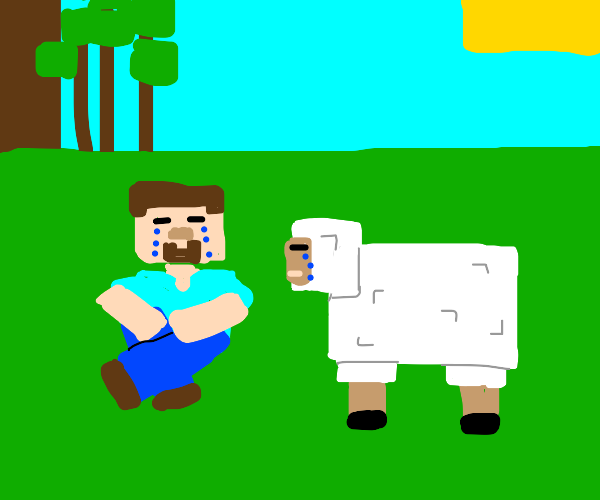 Sad Steve and animal in Minecraft