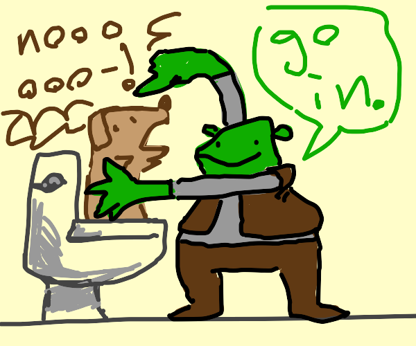 Shrek puts a dog in a toilet