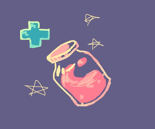A bottle of liquid medicine