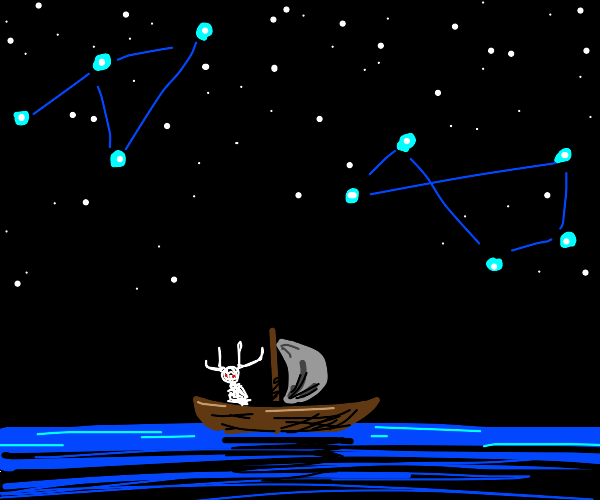 A boat in the sea, at night