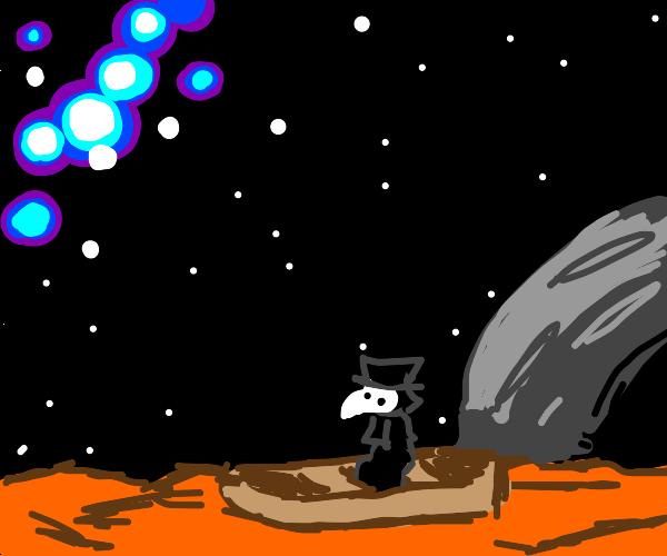 Plague doctor on a raft on mars