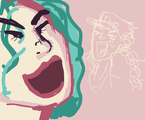 joker & an outline of jotaro laugh in uniso