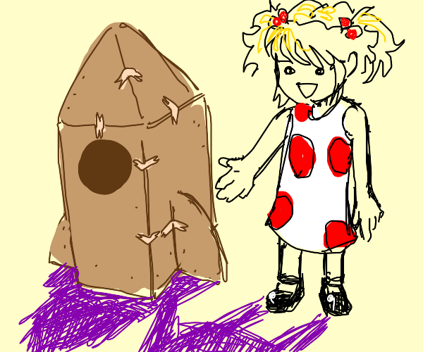 Little girl makes a rocket out of a box