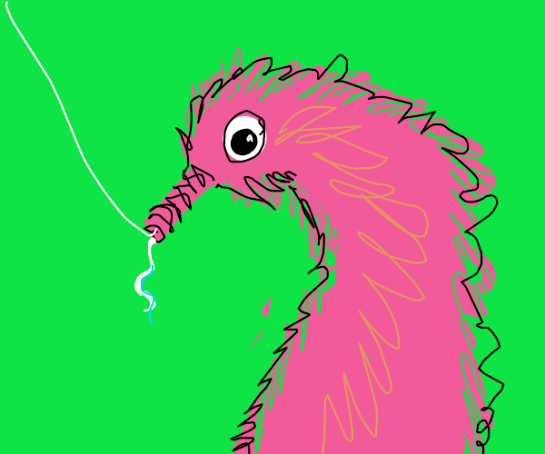 Worm on string with string as toungue