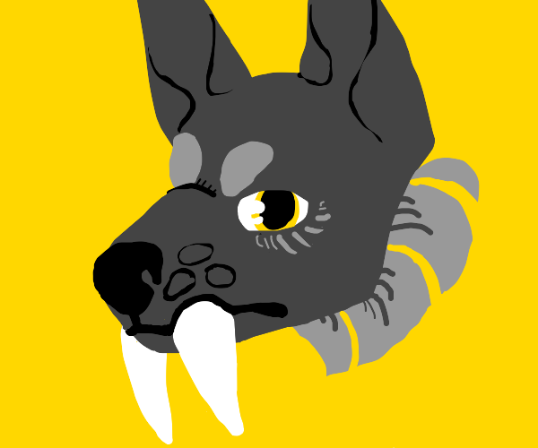 gray sabre toothed doggo