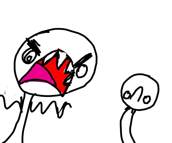 angry guy screaming at stupid guy(?)