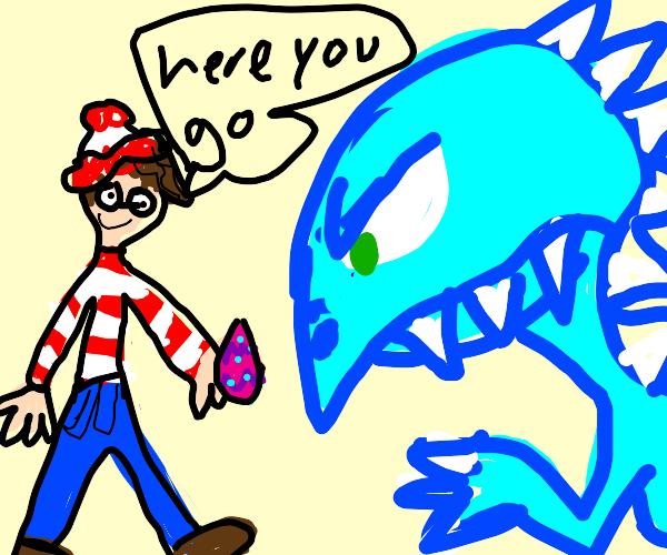waldo gives easter egg to blue dino