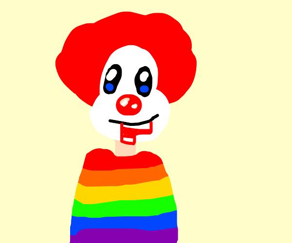 Clown eating a stripped shirt