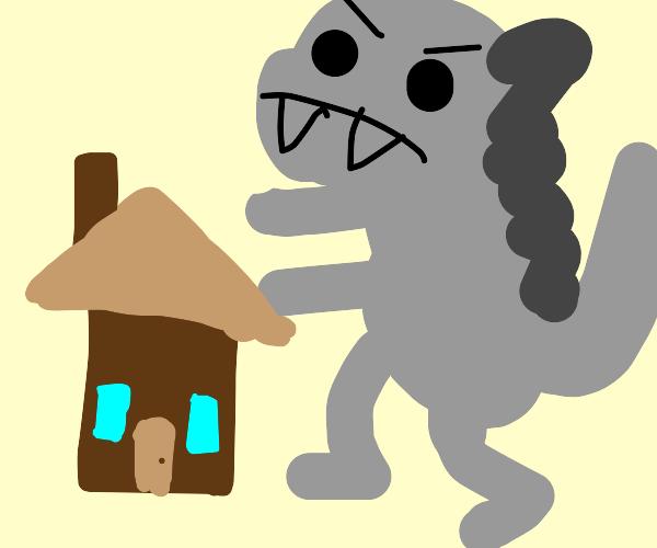 Flat Godzilla attacks village