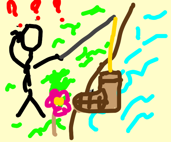 stickman confused fished a boot