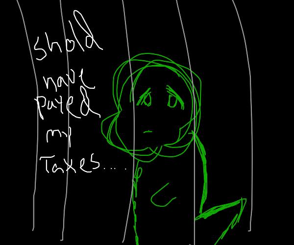 tired yoshi behind bars