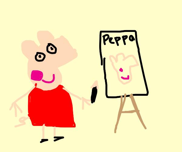 peppa pig draws herself
