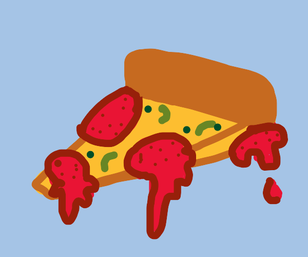 A bloody piece of pizza